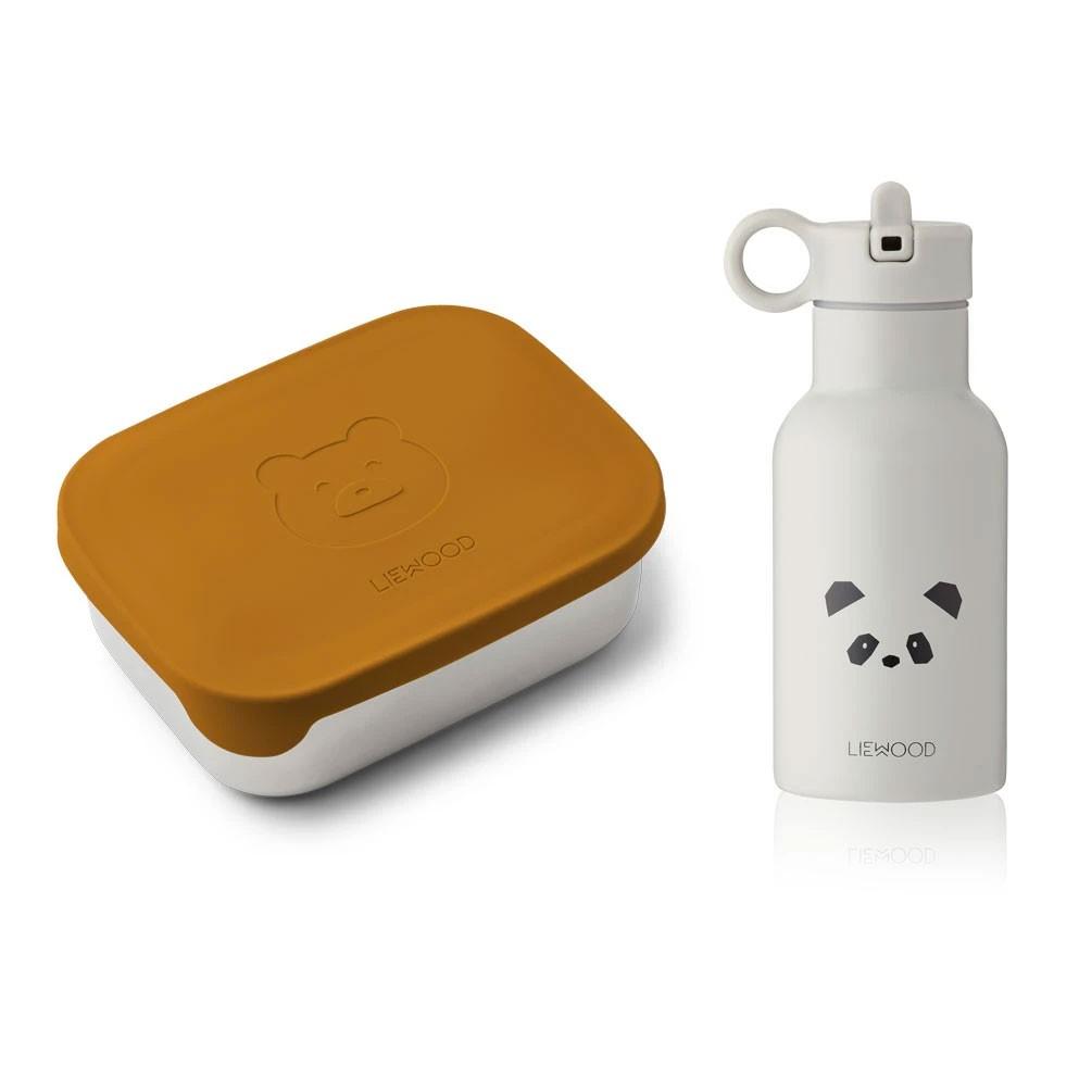 Liewood - Lunch Box Set Joni Mr bear Panda Light Grey