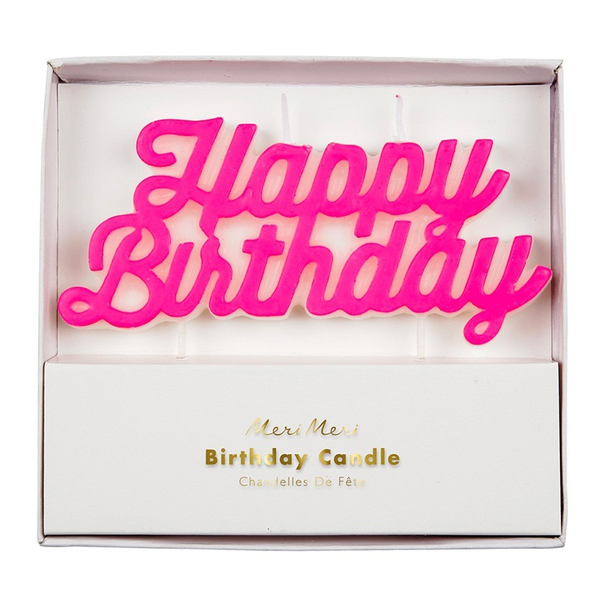 "Meri Meri - Kerze ""Happy Birthday"" Neon Pink"