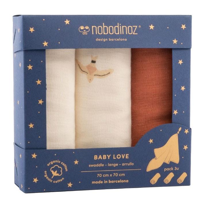 Nobodinoz - Box 3 Baby Love Swaddles Toffee